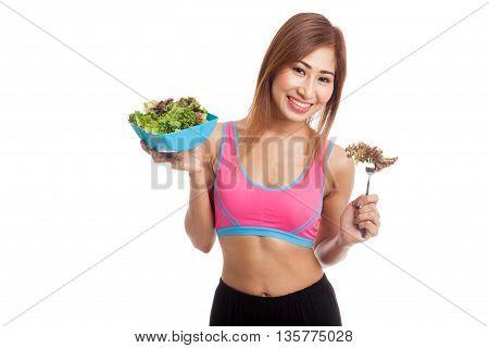 Beautiful Asian Healthy Girl Enjoy Eating  Salad