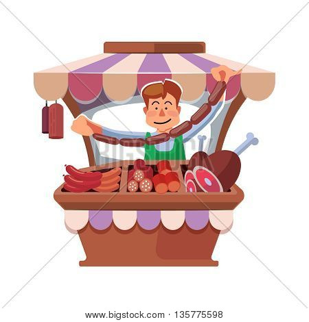 Vector illustration in flat style of farmer selling fresh meat in local market. illustration isolated on white background.