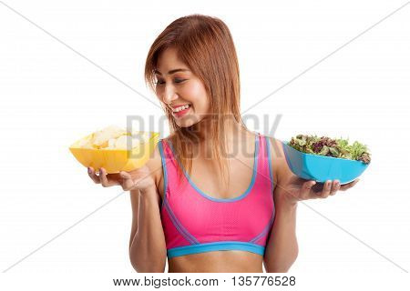 Beautiful Asian Healthy Girl Salad And Potato Chips
