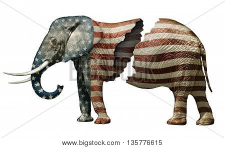 Photo illustration of a flag adorned elephant split in two to represent the fracturing of the Republican party.