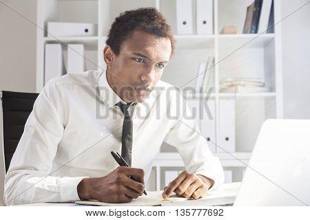 Unfriendly Man Working On Project