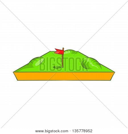 Golf course icon in cartoon style isolated on white background. Sports facility symbol