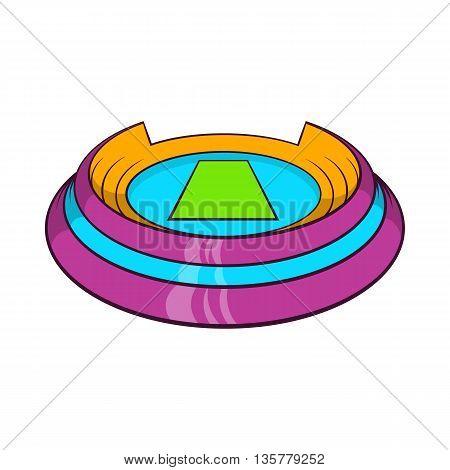 Round sports stadium icon in cartoon style isolated on white background. Sports facility symbol
