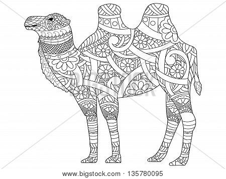 Camel coloring book for adults vector illustration. Anti-stress coloring for adult. Zentangle style animal. Black and white lines. Lace pattern