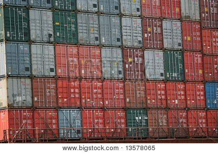 Cargo containers piled on top of one another
