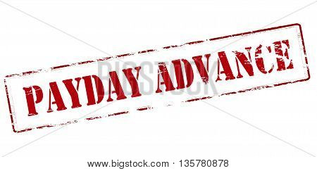 Rubber stamp with text payday advance inside vector illustration