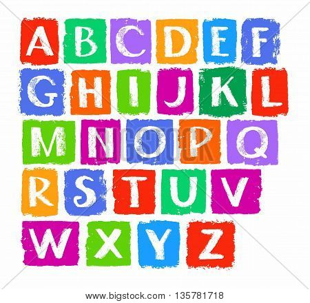 English alphabet, capital letters drawn with crayons. Simulated texture, vector. Font.