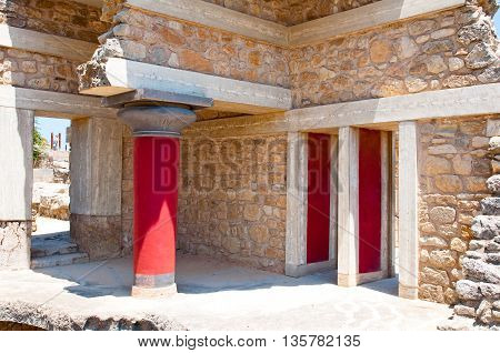Remains of the Knossos palace on the island of Crete Greece.