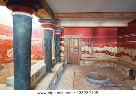 Detail of the Throne Room at Knossos palace on the island of Crete Greece.