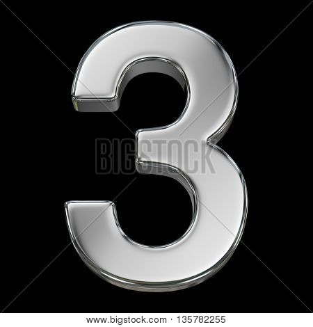 3d rendering, metal number collection - three, from chrome solid material.