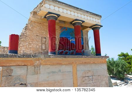 Knossos palace on the island of Crete Greece.