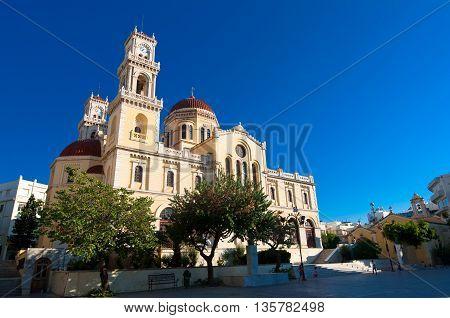 The Agios Minas Cathedral. Heraklion city on the island of Crete Greece.