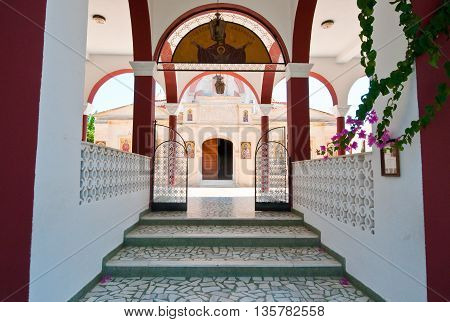 HERAKLION CRETE-JULY 25: Entrance to the Monastery of Panagia Kalyviani on July 25 in Heraklion on the Crete island Greece. The Monastery of Panagia Kalyviani is located 60km south of Heraklion.
