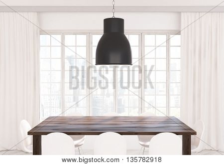 Ceiling lamp wooden kitchen table and white chairs in front of window with curtains and city view. 3D Rendering