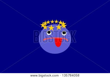 Resistance bluish face with tongue around his head in a small circle of gold stars, all in blue rectangular box. Reluctance to remain in the European Union.
