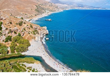 Preveli beach and lagoon.Crete island Greece.Tourist Beach.