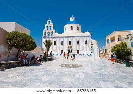 SANTORINIOIA-JULY 28: The Church of Saint Irene on July 282014 in Oia village on the Santorini island Greece. Oia is a small town on the islands of Thira (Santorini) and Therasia Greece.