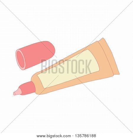 liquid makeup foundation in a tube icon in cartoon style on a white background