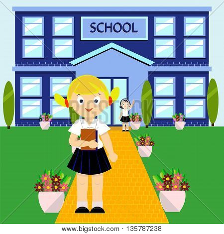 School vector illustration. Children are going to go to school
