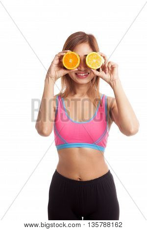 Beautiful Asian Healthy Girl With Orange Fruit Over Her Eyes
