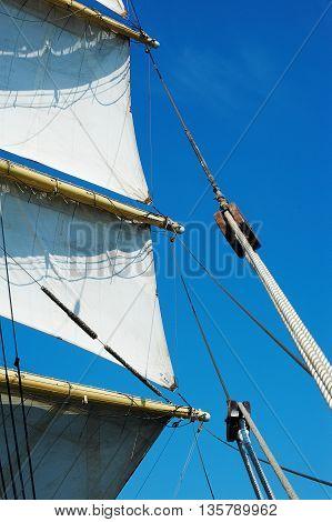 Rigging of a sailing ship, ropes, blocks, sails