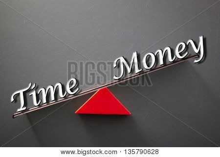 imbalance concept, words time and money on blackboard