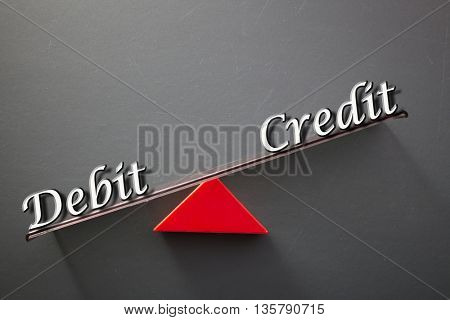 imbalance concept, words debit and credit on blackboard