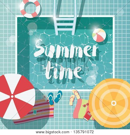 Swimming pool top view summer time holiday vacation clear water with parasols vector illustration