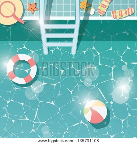 Swimming pool side top view summer time holiday vacation clear water with beach items vector illustration
