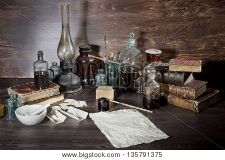Pharmaceutical still life with old objects. This is history