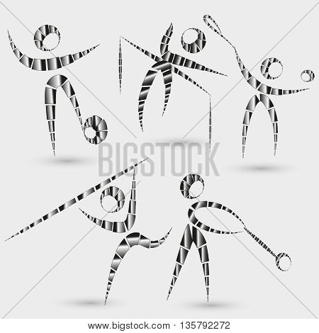 Set of five kinds of sports vector illustration Vector illustration set of five kinds of sports emblem - football,  pole vaulting, tennis, hammer throwing, jumping crossbar on a gray background