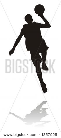 silhouette of basketball player or volleyball player poster
