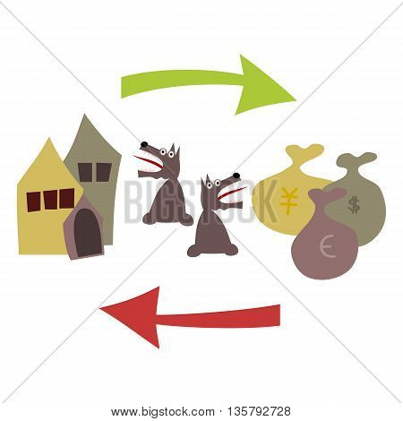 Buying and selling real estate. Houses, including kennel, green arrow, bags with dollars, yens and euros, a red arrow pointing to the left. On both looks terrified dog.