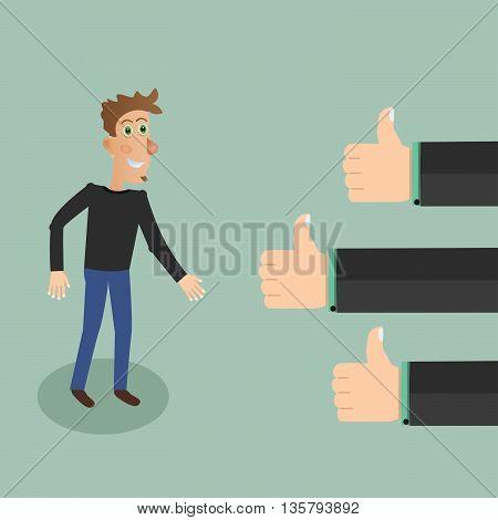 Positive feedback concept. Stock vector. Vector illustration.