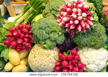 Colorful vegetables for sale at a market