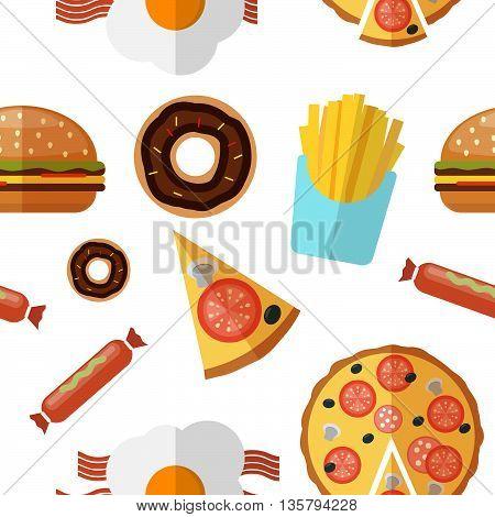 junk food seamless pattern. Stock vector. Vector illustration.