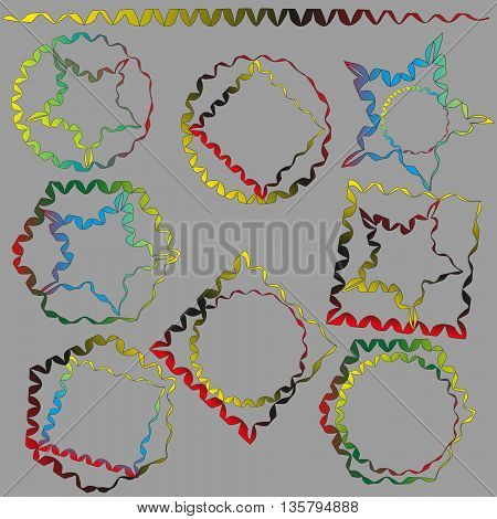 Brush and geometric vector illustration of fantasy Vector illustration brush handmade contour geometric shapes painted with this brush as an example or finished work, drawing on a gray background