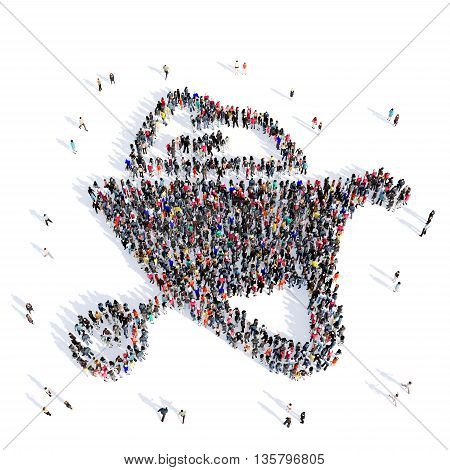 Large and creative group of people gathered together in the shape of a truck farmer, farming, environment, image. 3D illustration, isolated against a white background.