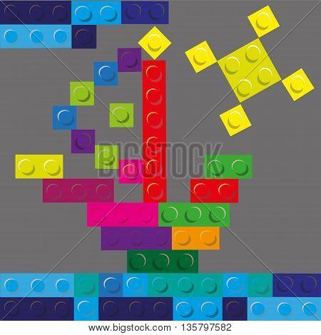 Vector illustration sun and ship of plastic building blocks  Ship and sun of plastic building blocks on a gray background vector illustration