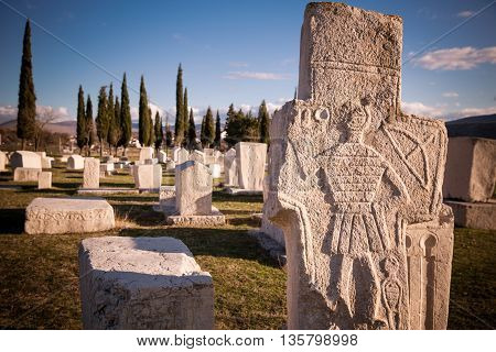 Radimlja necropolis in Bosnia and Hercegovina.Stecak tombstones from mediaeval period.Ancient european cemetery.