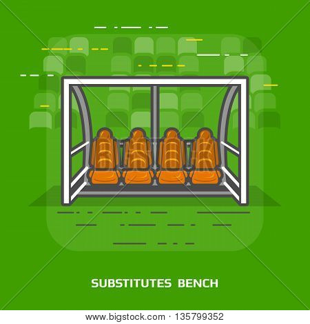 Flat illustration of soccer substitutes bench against green. Flat design of association football team shelter, front view. Vector image about soccer, sport game, football, championship, gameplay, etc