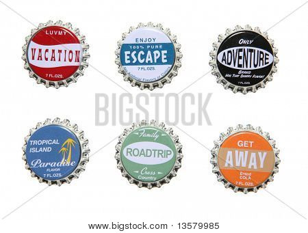 Vacation themed bottle caps, perfect for design elements