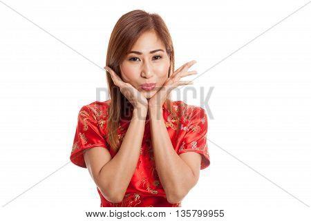 Happy Asian Girl In Chinese Cheongsam Dress