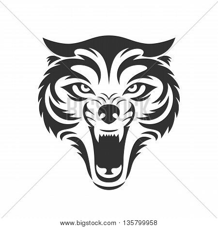 Wolf bares its teeth. Wolf head logo or icon in one color. Stock vector illustration.