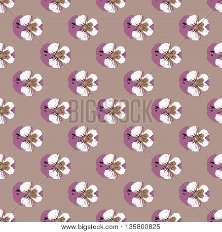 Seamless repeat pattern of delicate painterly look pansies on lilac background