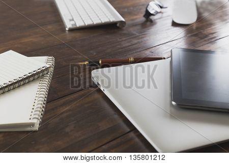 Tablet, Computer Notebook On Office Desk