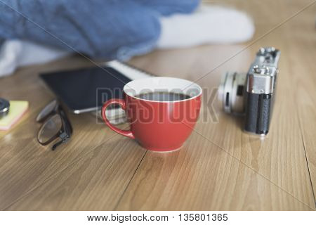 Man With Camera, Coffee Cup And Eyeglasses