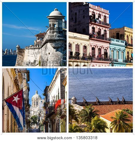 Cuba photo collage from Havana Cuba with architecture view