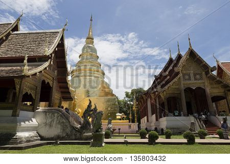 Golden Pagoda And Sanctuary In Buddhism Temple