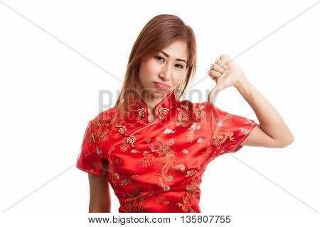 Asian Girl In Chinese Cheongsam Dress Thumbs Down